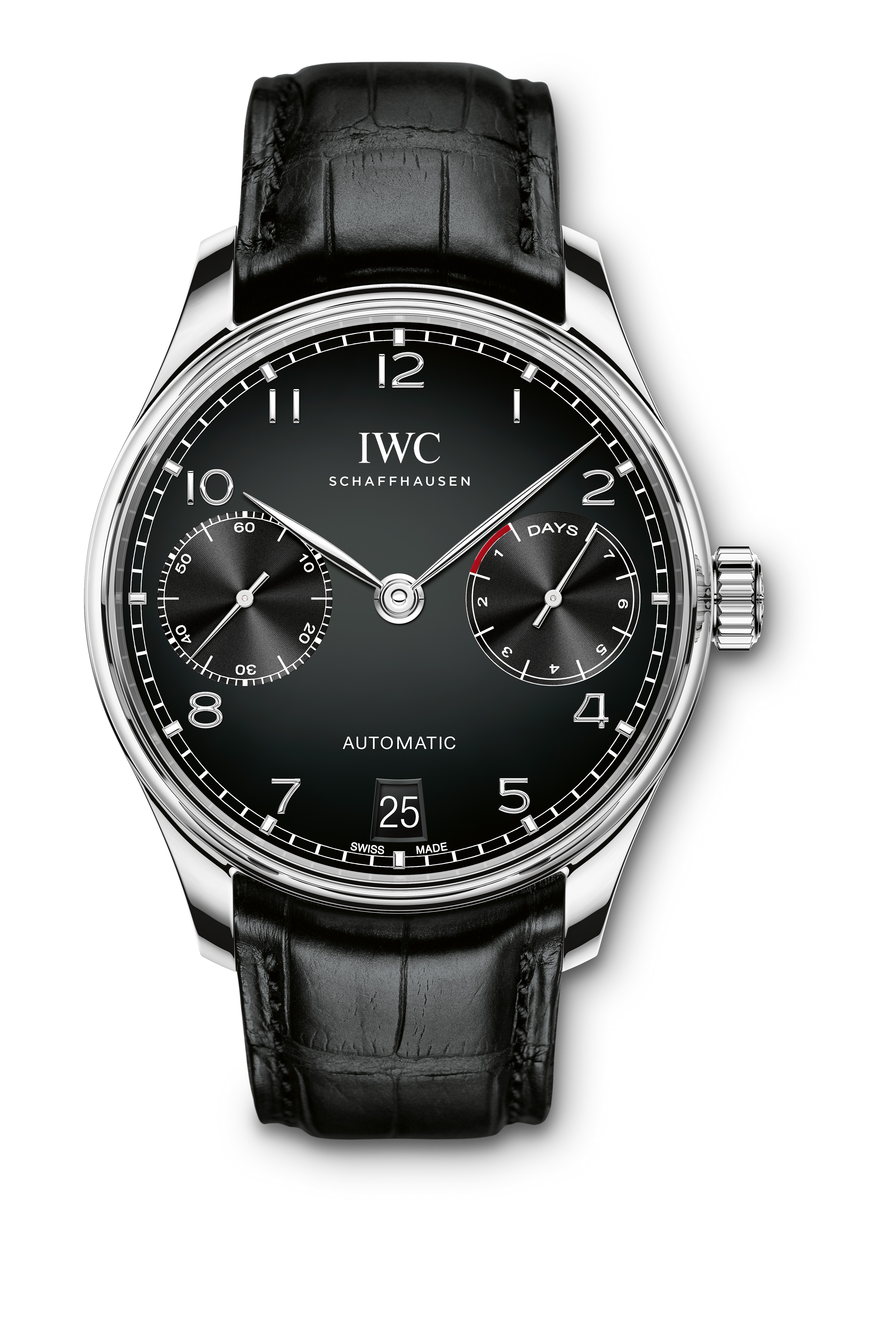 HANDOUT - The Portugieser Automatic (Ref. IW500703) from IWC Schaffhausen: case in stainless steel, black dial and black alligator leather strap with a folding clasp in stainless steel. (PHOTOPRESS/IWC)